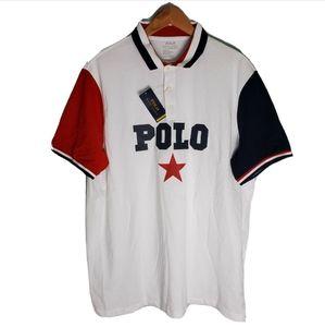 NWT POLO Ralph Lauren White Name Logo Polo Shirt